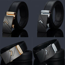 Men Genuine Belt Genuine Leather Automatic Buckle Waistband Strap Luxury Q0092