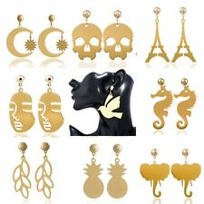 Gold Ainmal Bird Moon&Son Skull Pineapple Ear Stud Earrings Women Jewellery Gift
