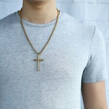 Rope Cross Pendant Necklace for Men Gold Silver Stainless Steel Box Link Chain