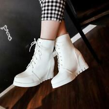 New women Vintage Lace up Conceal wedge heel ankle boots Korea Style shoes Chic