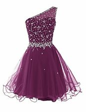Women Short Dress One Shoulder Prom Dresses Tulle Homecoming Dress with Beads 2