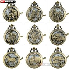 Retro Hollow Pocket Watch Animal Pendant Vintage Quartz Necklace Steampunk Mens