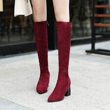 Fashion Womens Pointy Toe Knee High Boots Side Zip Mid Heels Shoes Casual
