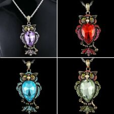 Chic Crystal Owl Animal Pendant Necklace Sweater Chain Jewelry Mother's Day Gift