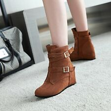 Womens Casual Faux Suede Side Zipper Ankle Boots Hidden Heels Buckle Shoes