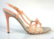 new $468 LUCIANO PADOVAN peach leather open-toe bow strappy sandals heels shoes