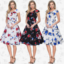 Womens Floral Skater Dress Ladies Sleeveless Cocktail Evening Party Swing Dress