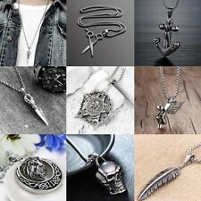 Mens Stainless Steel Chain Silver Lion Skull Anchor Pendant Necklace Hip Hop