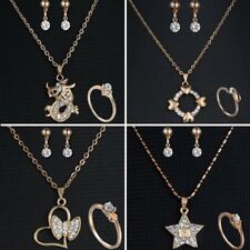 Crystal Dragon Star Heart Necklace Earrings Ring Wedding Bridal Jewelry Set Gift