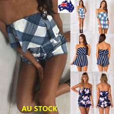 Women Floral Off Shoulder Backless Jumpsuit Playsuit Summer Beach Short Romper