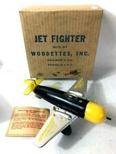 RARE VINTAGE | WOODETTES WIND-UP JET FIGHTER AIRPLANE TOY W/BOX | NON-WORKING