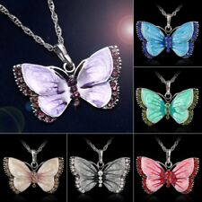 Women Lady Crystal Enamel Butterfly Pendant Necklace Long Chain Fashion Jewelry