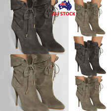 Women Lace Up Stiletto Boots High Heel Pointed Toe Suede Ankle Strap Boots Shoes