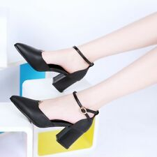 Elegant Ladies Pointy Toe Ankle Strap Pumps Shoes Prom Party High Chunky Heels