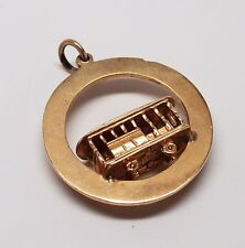 Vintage SOLID 14K YELLOW GOLD Trolley 3D Car Pendant - 6.6 GRAMS, GORGEOUS!