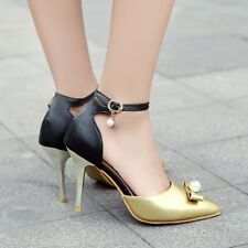 Chic Womens Pointy Toe Ankle Strap Slim High Heels Bowtis Beads Shoes