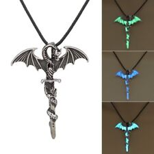 Hot Vintage Silver Glow In The Dark Luminous Cross Dragon Pendant Necklace Gift