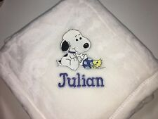 Personalized Snoopy with Blocks Baby Blanket Boy Girl Monogrammed