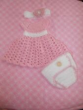 Handmade Crochet baby 3 piece set, Dress, Diaper Cover & Headband. 0- 3 months,