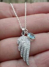 Sterling Silver CZ Angel Wing Crystal Birthstone Charm Memorial Pendant Necklace