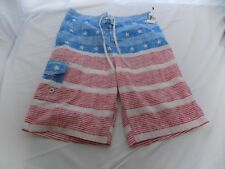 NWOT Mens Carbon Board Shorts Swimming Suit Trunks American Flag Stars & Stripes