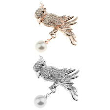 Vintage Crystal Pearl Parrot Birds Animal Brooches Pins Corsages Scarf Clips