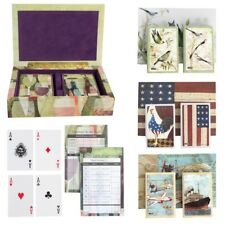 Bridge Playing Cards & Tallies Set 2 Card Decks And Score Pad In Hinged Gift Box