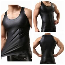 Mens Faux Leather Sleeveless Top Shirt Muscle Gym Workout Tank Vest Clubwear