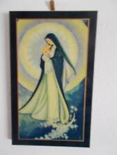 Antique Mother Mary Jesus Madonna CELLULOID Picture on wood early 1900s vintage