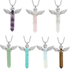 Gemstone Hexagonal Prism Quartz Crystal Healing Angel Pendant Fit Necklace Gift