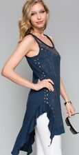 new VOCAL western SHIRT TANK TUNIC DRESS Vintage S M L XL navy LACE stones SEXY