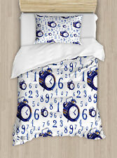 Ambesonne Clock Watercolor Style Illustration Caligraphic Numbers Duvet Set