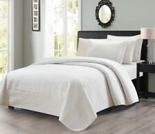 Edan 3-Piece Luxury Solid White Checkered Quilted Bedspread Coverlet Set