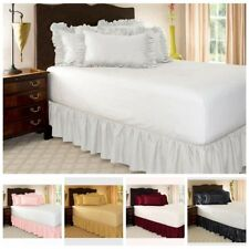 BED SKIRT DUST RUFFLE SUPER SOFT SOLID 15 inches DROP ELASTIC BAND BED APRON