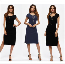Ladies Side Slit Bodycon Mini Women Dress Slim Shortsleeve Summer Evening Party