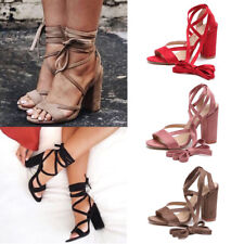 Women Block High Heel Ankle Strap Sandals Ladies Open Toe Back Strappy Shoes