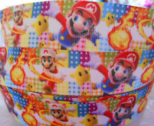 "2 or 5 yds  SUPER MARIO BROS character 1"" Grosgrain Ribbon Card Cake Bow Craft"