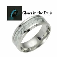 Glow in the Dark Blue Stainless Steel Comfort Fit Wedding Band Ring Ginger Lyne