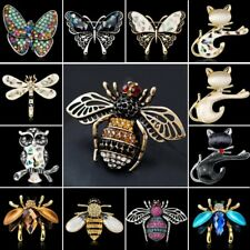 Dragonfly Owl Cat Butterfly Bee Animal Crystal Brooch Pin Women Jewelry Gift New
