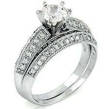 Sterling Silver CZ Vintage Style Engagement Wedding Ring Band Set Size 5-9