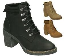 WOMENS LADIES HIGH BLOCK HEEL LACE UP COWBOY PIXIE ANKLE BOOTS SIZE 3-8