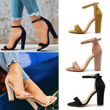 Women Block High Heels Ankle Strap Sandals Peep Toe Chunky Party Pumps Shoes