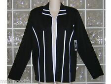 NWT EXCLUSIVELY MISOOK open front original  Acrylic JACKET solid BLACK + WHITE M