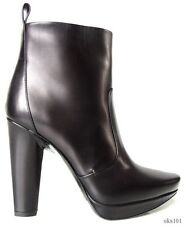 new $795 CALVIN KLEIN Collection Giselle black platform ANKLE BOOTS Italy -GREAT