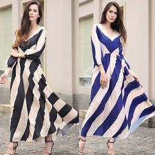 Women Striped Chiffon Dress Boho Evening Party Long Maxi Beach Holiday Sundress