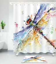 Insect Dragonfly Shower Curtain Waterproof Fabric Curtains Bath Mat Rug Carpet