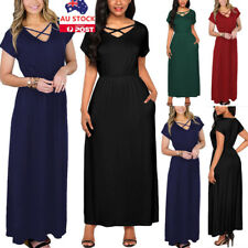 AU Women V Neck Cross Strappy Maxi Long Dress Summer Beach Holiday Party Dress