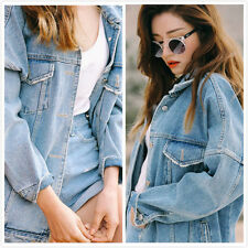 Womens Leisure Short Denim Loose Jacket Jeans Jacket Coat Cowboy One Size Pocket