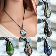 Gold Foil Drop Flower Lampwork Glass Murano Pendant Necklace Women Jewelry Gift