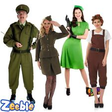 1940 Fancy Dress Costume Mens Home Guard Womens WW2 Dress Army Land Girl